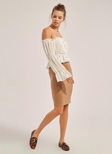 Monamoda Carmen Yaka Düğmeli Şifon Bluz Beyaz